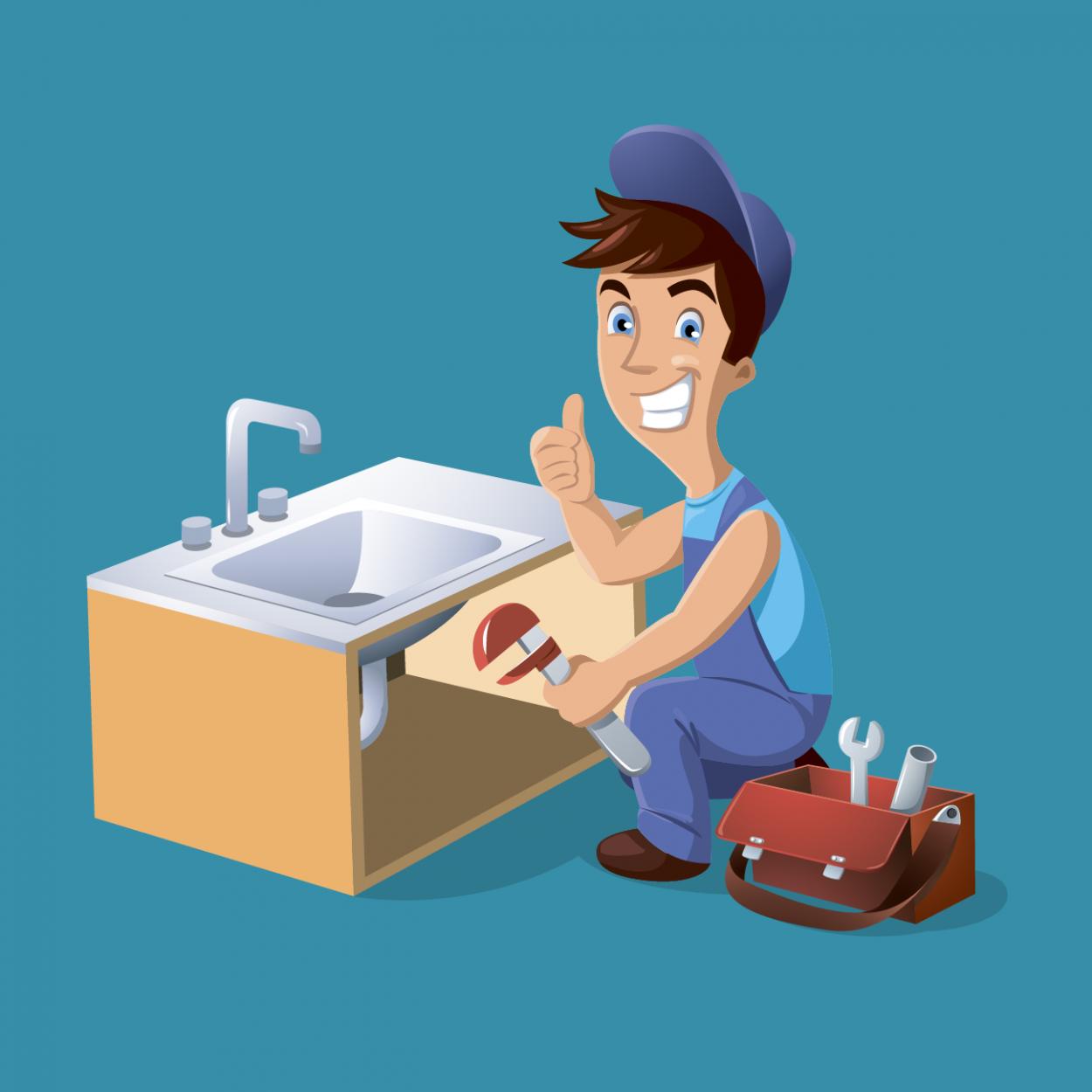 Иллюстрация к анекдоту про молодого сантехника и ржавый гвоздь