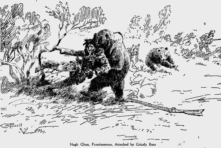 Иллюстрация схватки Гласса с гризли в газете The Milwaukee Journal