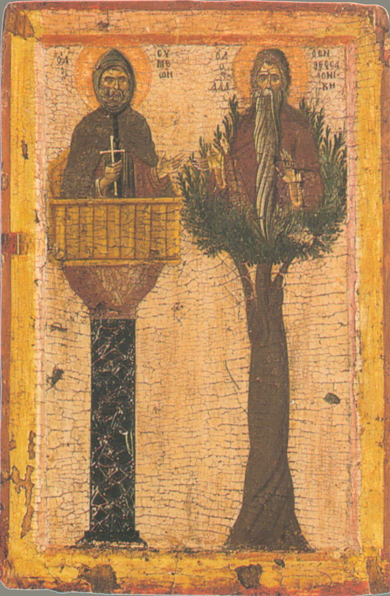 Греческая икона c изображением столпников Симеона и Давида