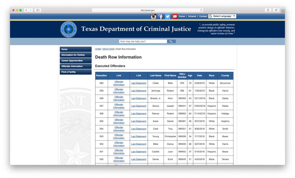 Cкриншот сайта: tdcj.texas.gov