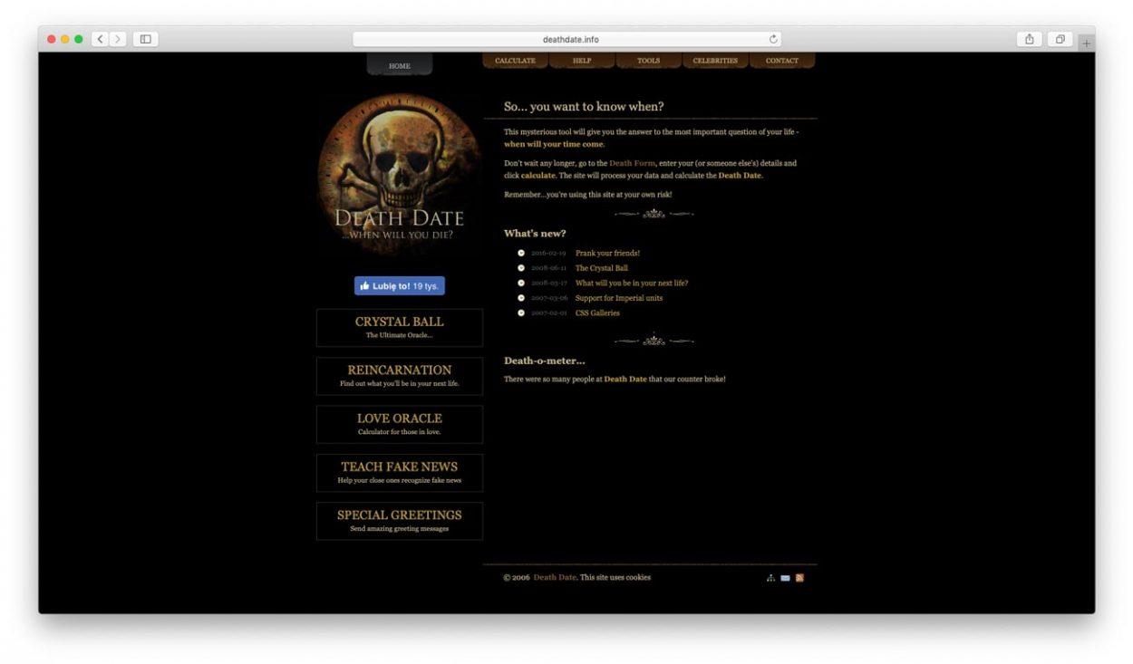 Cкриншот сайта: deathdate.info