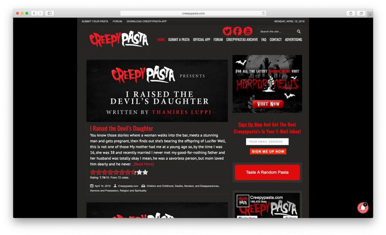 Cкриншот сайта: creepypasta.com