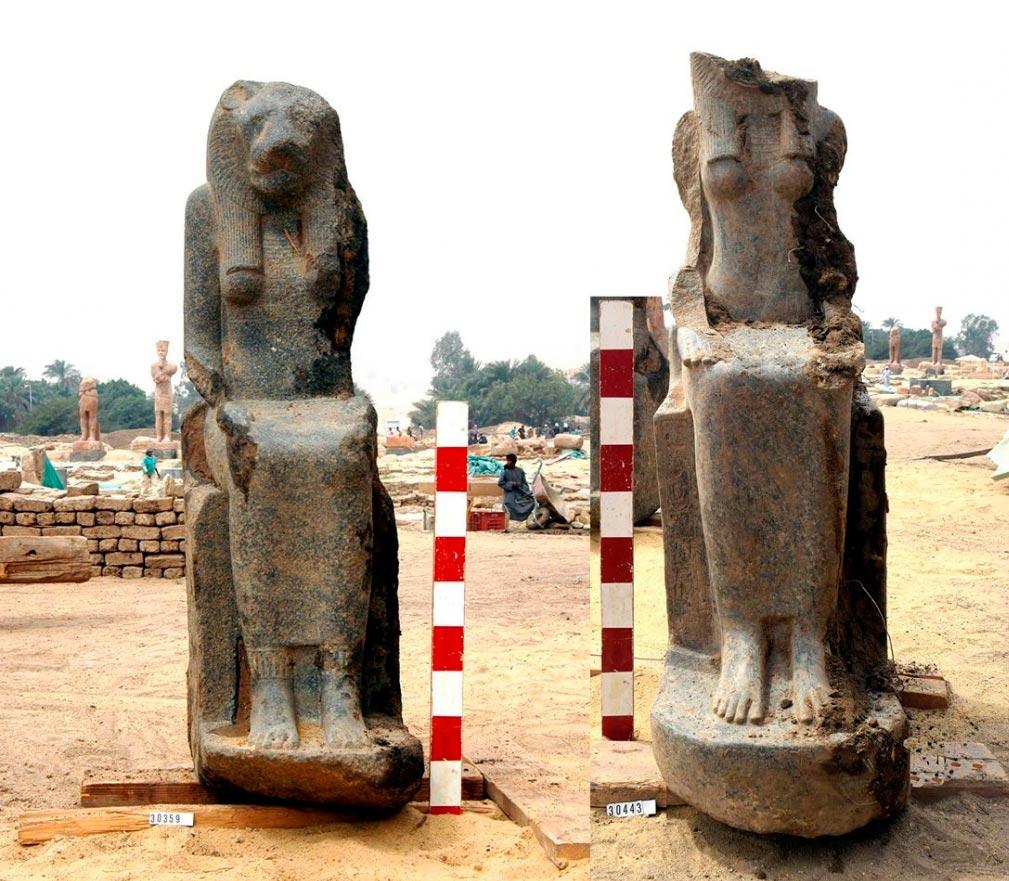 Статуи египетской богини Сехмет  найденные археологами при раскопках в храме Мут в Карнаке, Иран.