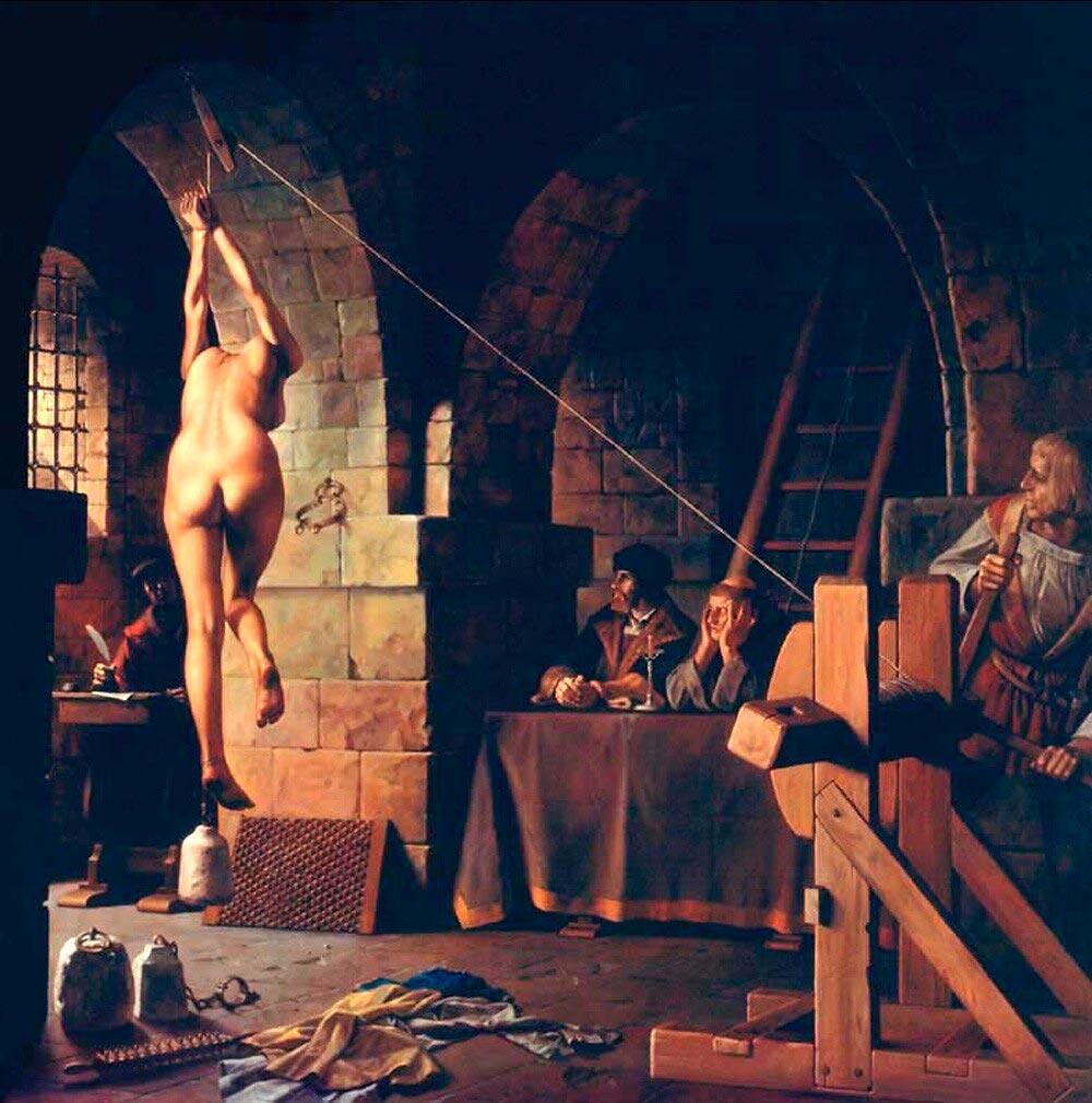 Пытка Анны Гёльди на дыбе