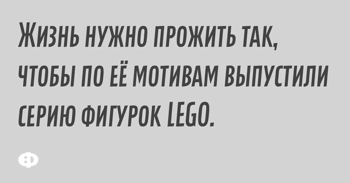 Жизнь нужно прожить так, чтобы по её мотивам выпустили серию фигурок LEGO.