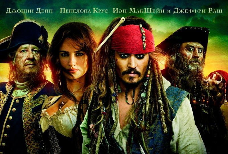 Расположение имен актеров на рекламном поостере «Пираты карибского моря»