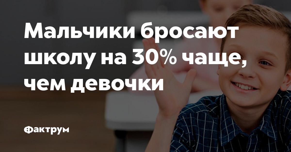 Мальчики бросают школу на30%чаще, чем девочки