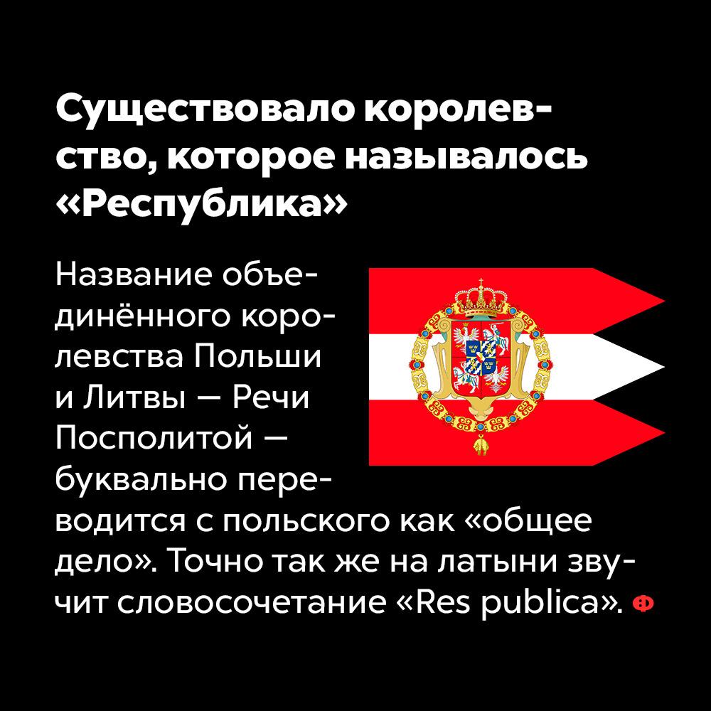 Существовало королевство, которое называлось «Республика». Название объединённого королевства Польши и Литвы — Речи Посполитой — буквально переводится с польского как «общее дело». Точно так же с латыни переводится словосочетание «Res publica».