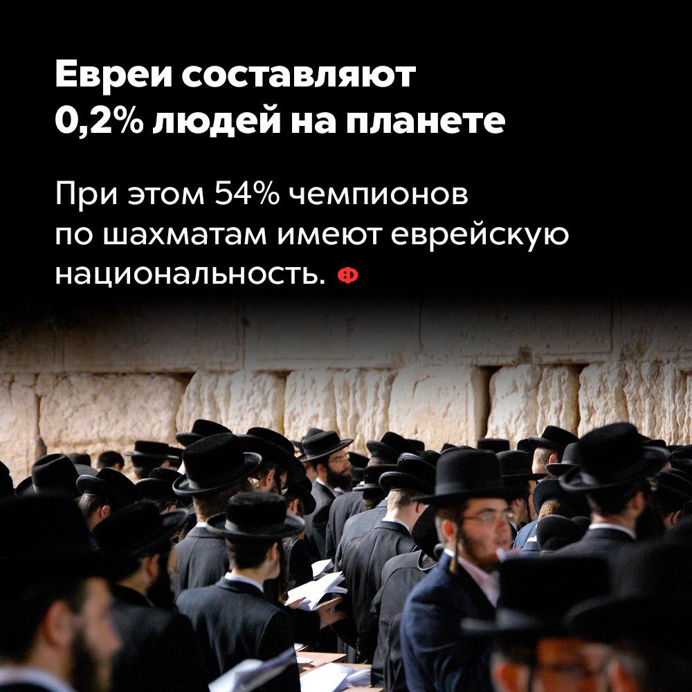 Евреи составляют 0,2%людей напланете. При этом 54% чемпионов по шахматам имеют еврейскую национальность.