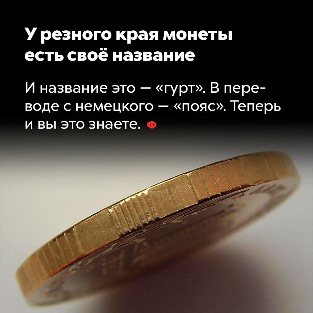 У резного края монеты  есть своё название. И название это —«гурт», в переводе с немецкого — «пояс».