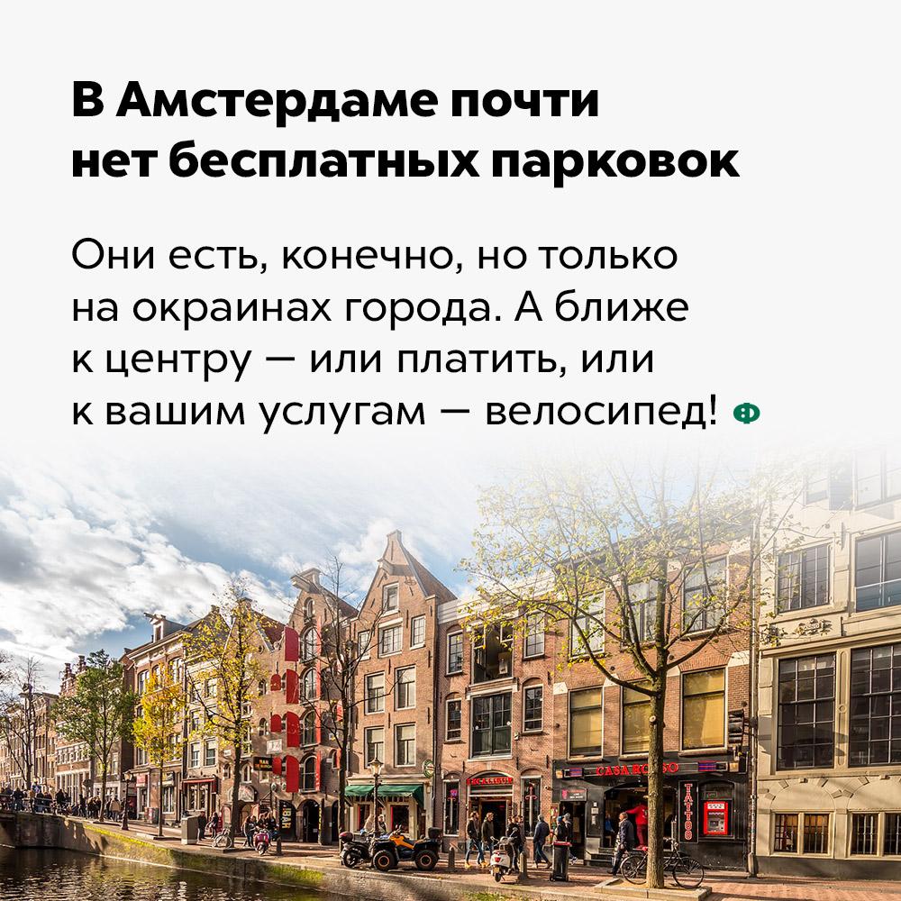 В Амстердаме почти нет бесплатных парковок. Они есть, конечно, но только на окраинах города. А ближе к центру — или платить, или к вашим услугам — велосипед!