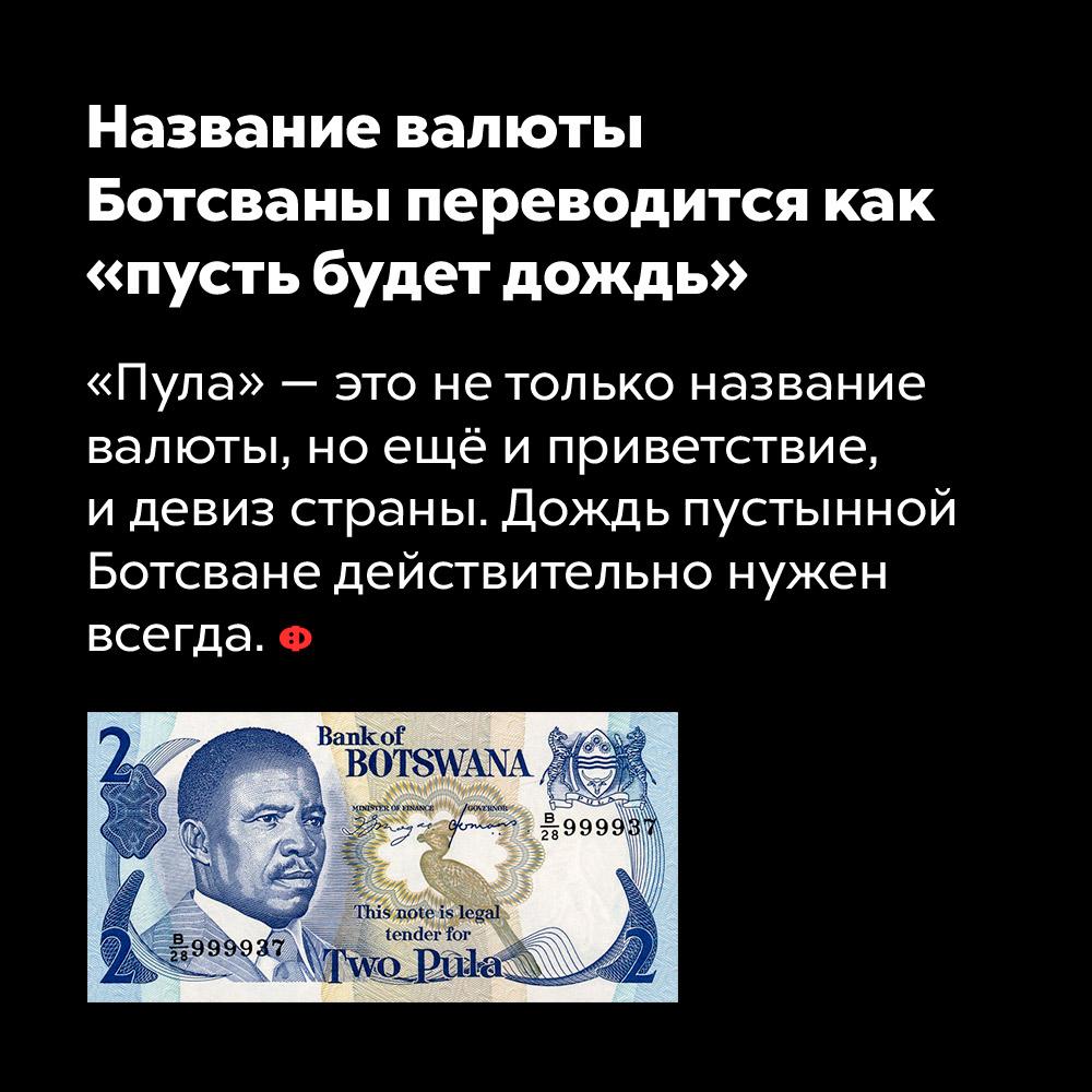Название валюты Ботсваны переводится как «пусть будет дождь». «Пула» — это не только название валюты, но ещё и приветствие и девиз страны. Дождь пустынной Ботсване действительно нужен всегда.