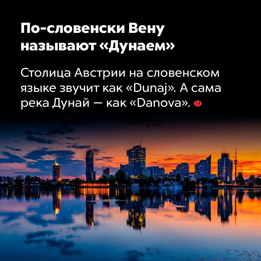 По-словенски Вену называют «Дунаем». Столица Австрии на словенском языке звучит как «Dunaj». А сама река Дунай — как «Danova».