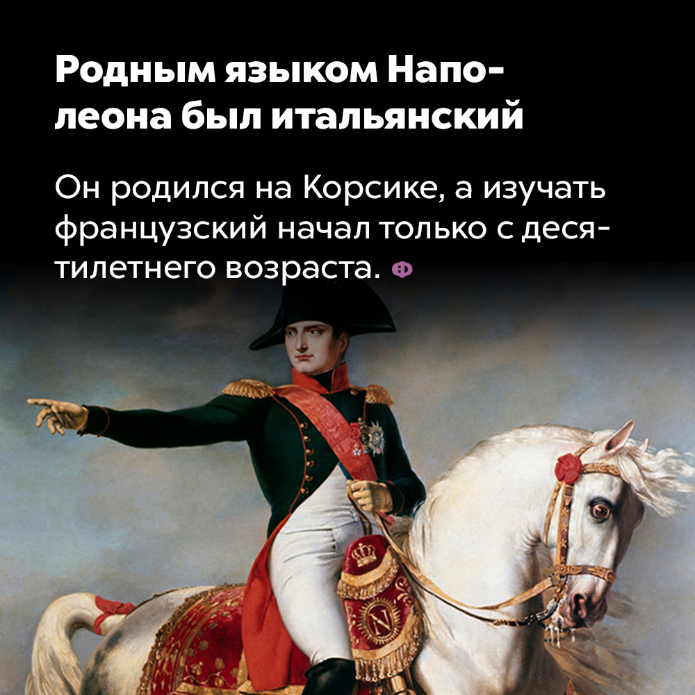 Родным языком Наполеона был итальянский. Он родился на Корсике, а изучать французский начал только с десятилетнего возраста.