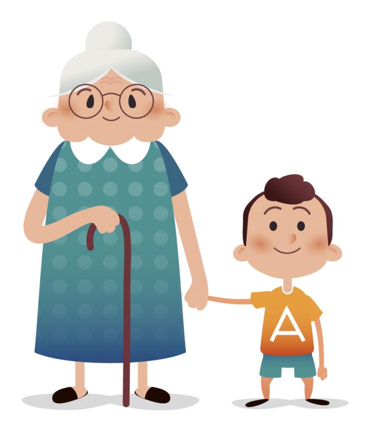 Картинка для детей бабушка с внуком
