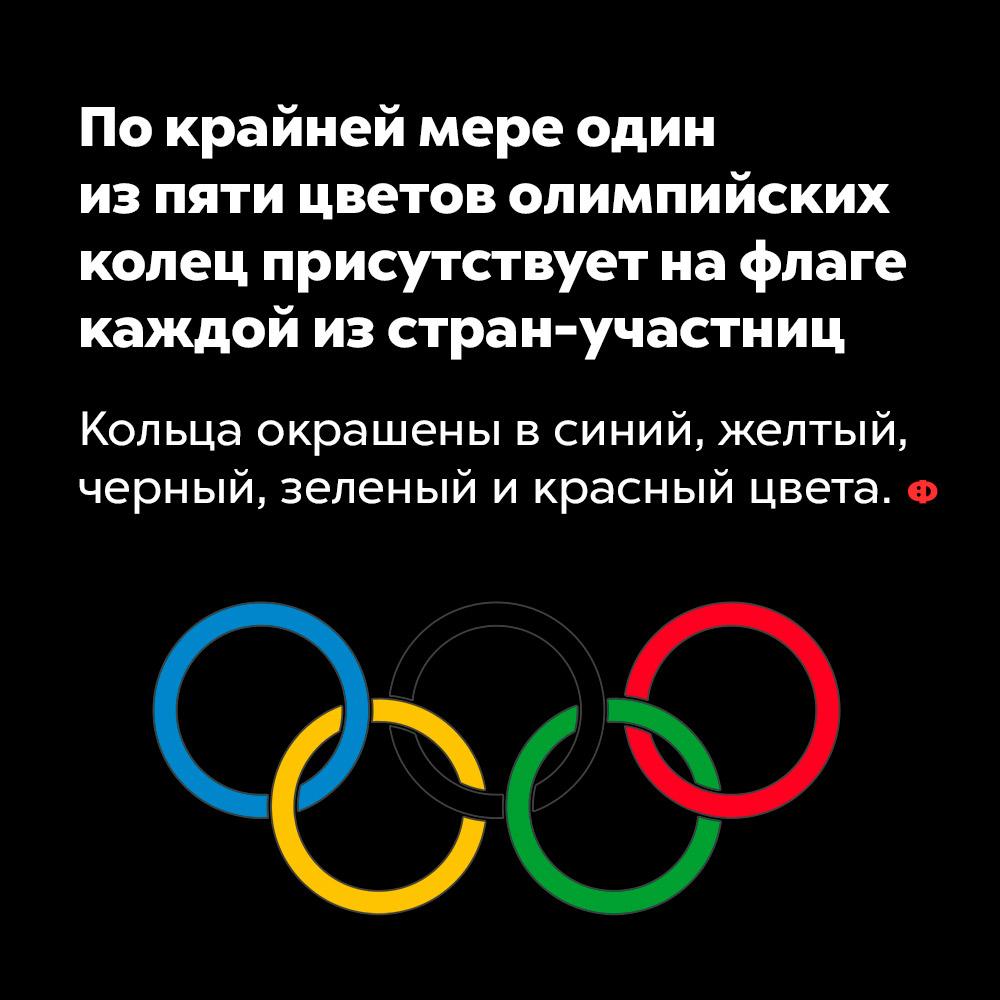 Покрайней мере один изпяти цветов олимпийских колец присутствует нафлаге каждой изстран-участниц.