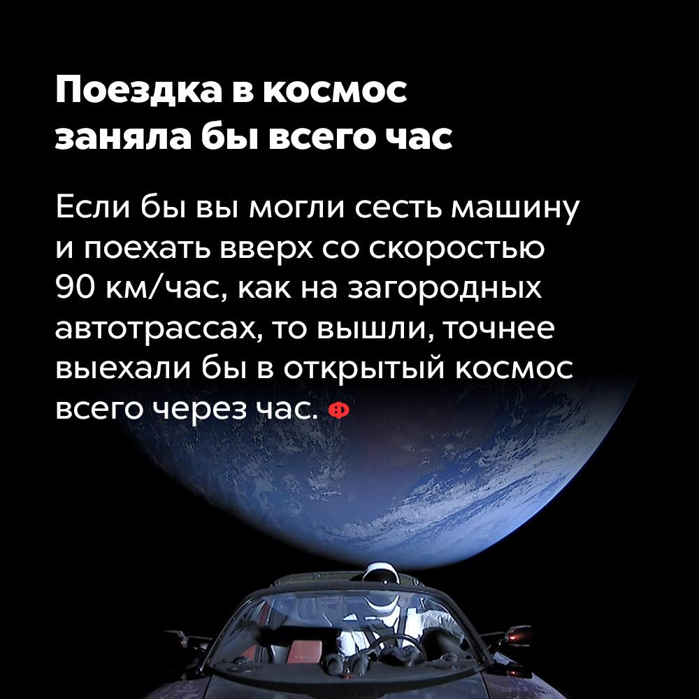 Поездка вкосмос заняла бы всего час. Если бы вы могли сесть в машину и поехать вверх со скоростью 90 км/час, как на загородных автотрассах, то вышли, точнее выехали бы в открытый космос всего через час.
