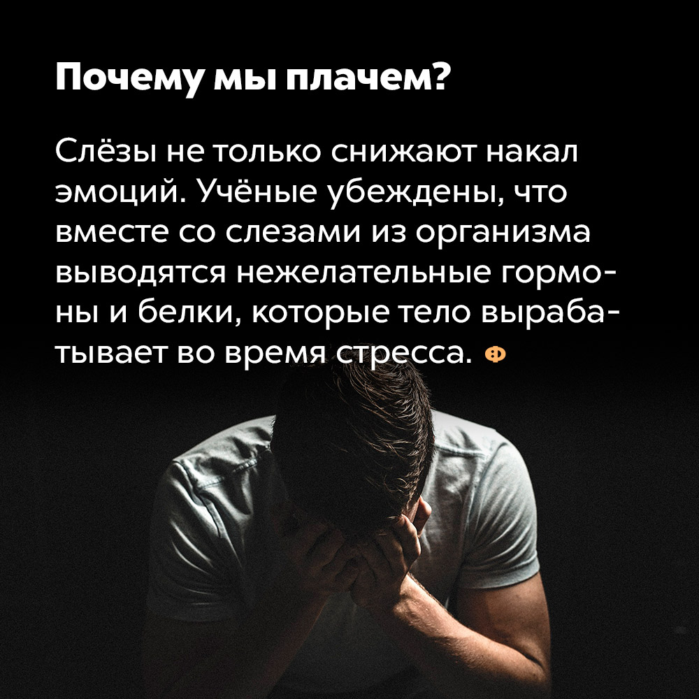 Почему мы плачем?. Слёзы не только снижают накал эмоций. Учёные убеждены, что вместе со слезами из организма выводятся нежелательные гормоны и белки, которые тело вырабатывает во время стресса.