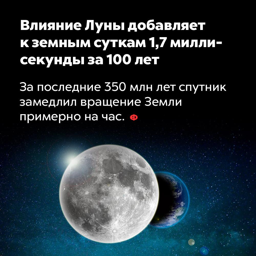 Влияние Луны добавляет кземным суткам 1,7миллисекунды за100лет. За последние 350 млн лет спутник замедлил вращение Земли примерно на час.