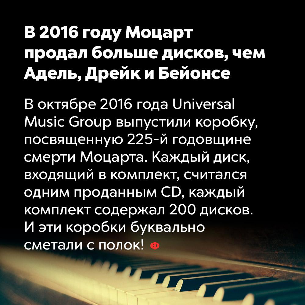 В2016 году Моцарт продал больше дисков, чем Адель, Дрейк иБейонсе. В октябре 2016 года Universal Music Group выпустили коробку, посвященную 225-й годовщине смерти Моцарта. Каждый диск, входящий в комплект, считался одним проданным CD, каждый комплект содержал 200 дисков. И эти коробки буквально сметали с полок!