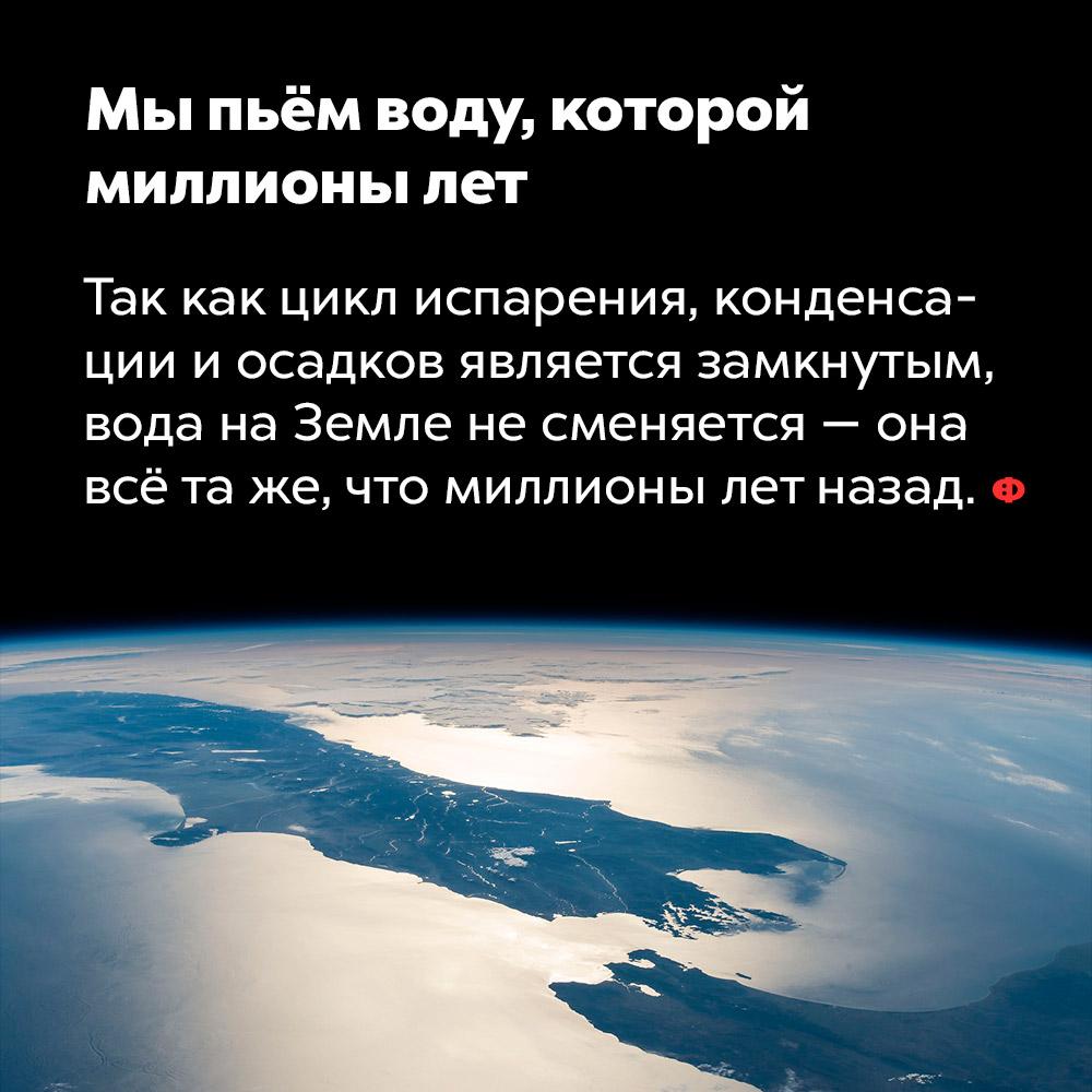 Мы пьём воду, которой миллионы лет. Так как цикл испарения, конденсации и осадков является замкнутым, вода на Земле не сменяется — она всё та же, что миллионы лет назад.