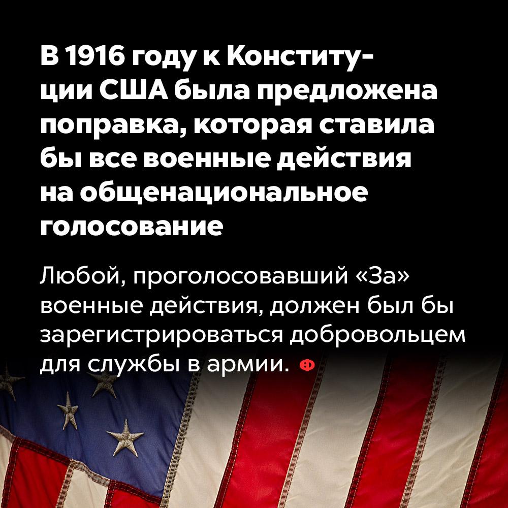 В1916году кКонституции США была предложена поправка, которая ставила бывсе военные действия наобщенациональное голосование. Любой, проголосовавший «За» военные действия, должен был бы зарегистрироваться добровольцем для службы в армии.