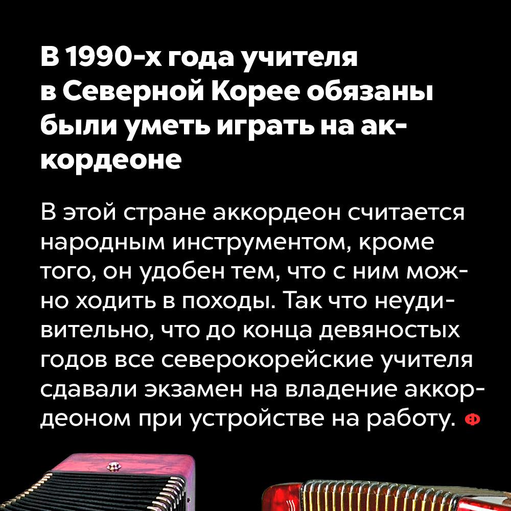 В1990-х годах учителя вСеверной Корее обязаны были уметь играть нааккордеоне. В этой стране аккордеон считается народным инструментом, кроме того, он удобен тем, что с ним можно ходить в походы. Так что неудивительно, что до конца девяностых годов все северокорейские учителя сдавали экзамен на владение аккордеоном при устройстве на работу.