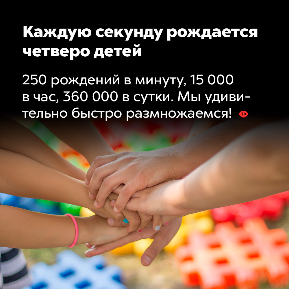 Каждую секунду рождается четверо детей. 250 рождений в минуту, 15 000 в час, 360 000 в сутки. Мы удивительно быстро размножаемся.