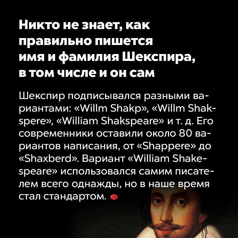 Никто незнает, как правильно пишется имя ифамилия Шекспира, втом числе ионсам. Шекспир подписывался разными вариантами: «Willm Shakp», «Willm Shakspere», «William Shakspeare» и т. д. Его современники оставили около 80 вариантов написания, от «Shappere» до «Shaxberd». Вариант «William Shakspeare» использовался самим писателем всего однажды, но в наше время стал стандартом.