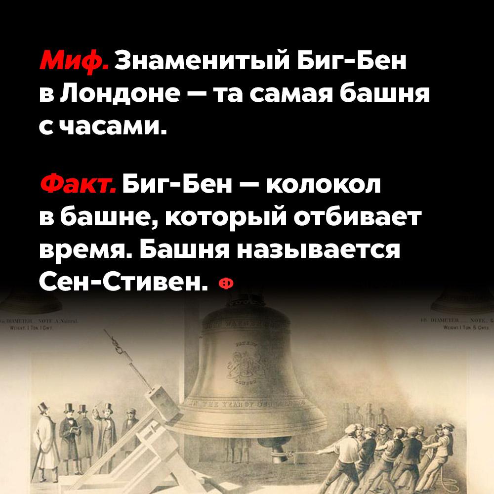 Знаменитый Биг-Бен вЛондоне — это не башня счасами. Биг-Бен — колокол в башне, который отбивает время. Башня называется Сен-Стивен.