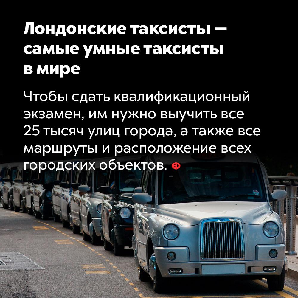 Лондонские таксисты — самые умные таксисты вмире. Чтобы сдать квалификационный экзамен, им нужно выучить все 25 тысяч улиц города, а также все маршруты и расположение всех городских объектов.
