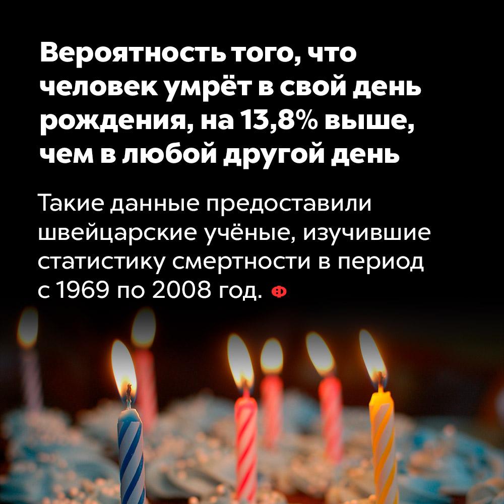 Вероятность того, что  человек умрёт всвой день рождения, на13,8%выше , чем влюбой другой день.