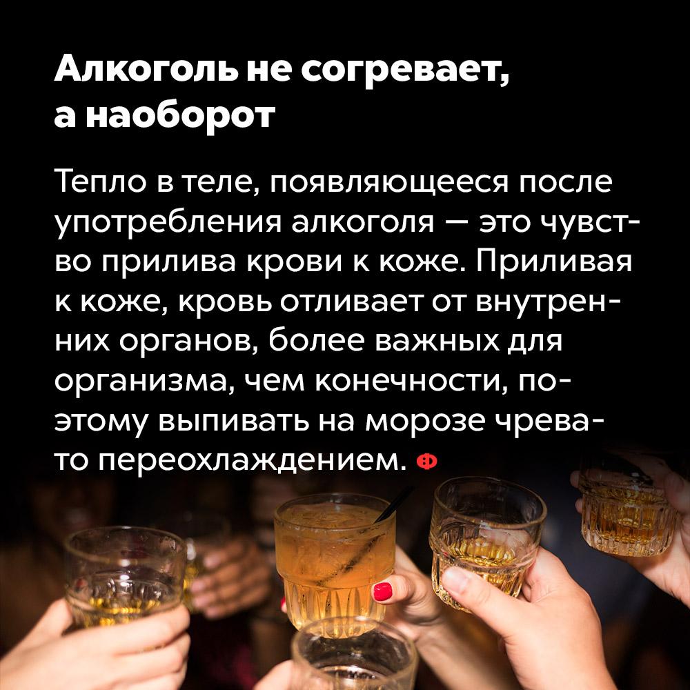 Алкоголь несогревает, анаоборот. Тепло в теле, проявляющееся после употребления алкоголя — это чувство прилива крови к коже. Приливая к коже, кровь отливает от внутренних органов, более важных для организма, чем конечности, поэтому выпивать на морозе чревато переохлаждением.