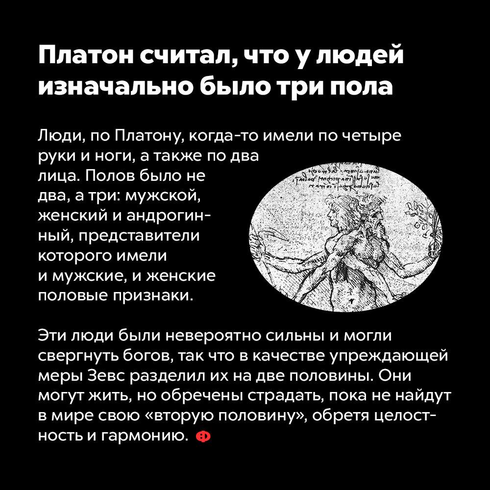 Платон считал, что улюдей изначально было три пола. Люди, по Платону, когда-то имели по четыре руки и ноги, а также по два лица. Полов было не два, а три: мужской, женский и андрогинный, представители которого имели и мужские, и женские половые признаки.  Эти люди были невероятно сильны и могли свергнуть богов, так что  в качестве упреждающей меры Зевс разделил их на две половины. Они могут жить, но обречены страдать, пока не найдут в мире свою «вторую половину», обретя целостность и гармонию.