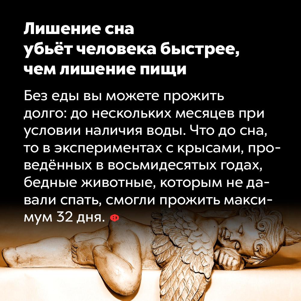 Лишение сна убьёт человека быстрее, чем лишение пищи. Без еды вы можете прожить долго: до нескольких месяцев при условии наличия воды. Что до сна, то в экспериментах с крысами, проведённых в восьмидесятых годах, бедные животные, которым не давали спать, смогли прожить максимум 32 дня.