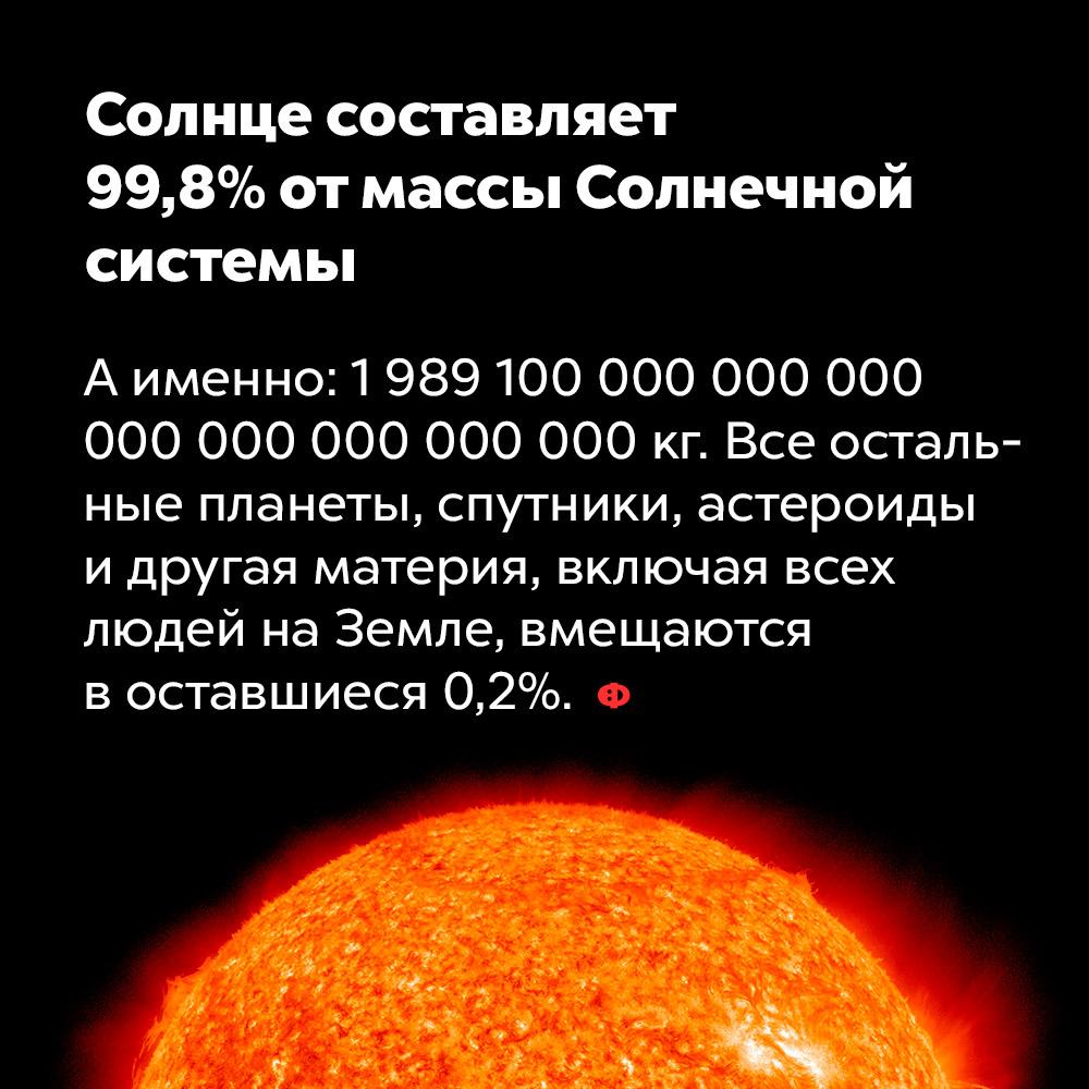 Солнце составляет 99,8%отмассы Солнечной системы. А именно: 1 989 100 000 000 000 000 000 000 000 000 кг. Все остальные планеты, спутники, астероиды и другая материя, включая всех людей на Земле, вмещаются в оставшиеся 0,2%.