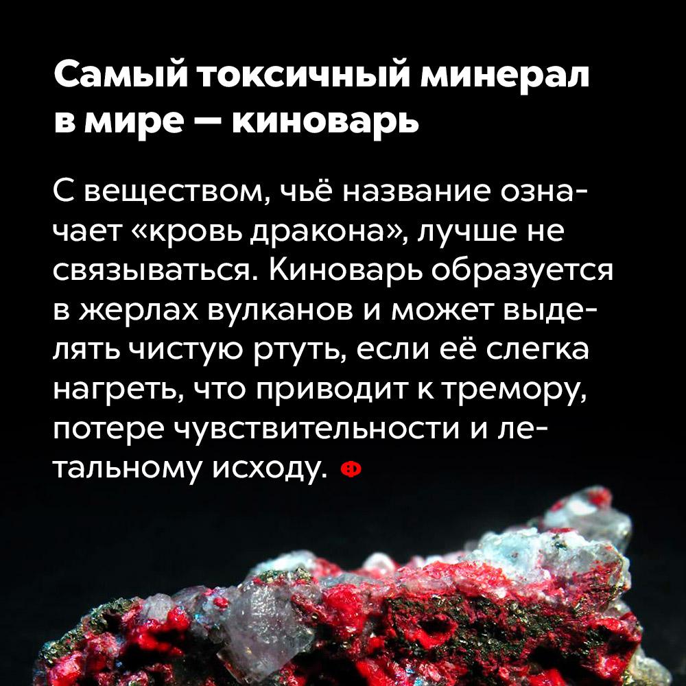 Самый токсичный минерал вмире — киноварь. С веществом, чьё название означает «кровь дракона», лучше не связываться. Киноварь образуется в жерлах вулканов и может выделять чистую ртуть, если её слегка нагреть, что приводит к тремору, потере чувствительности и летальному исходу.