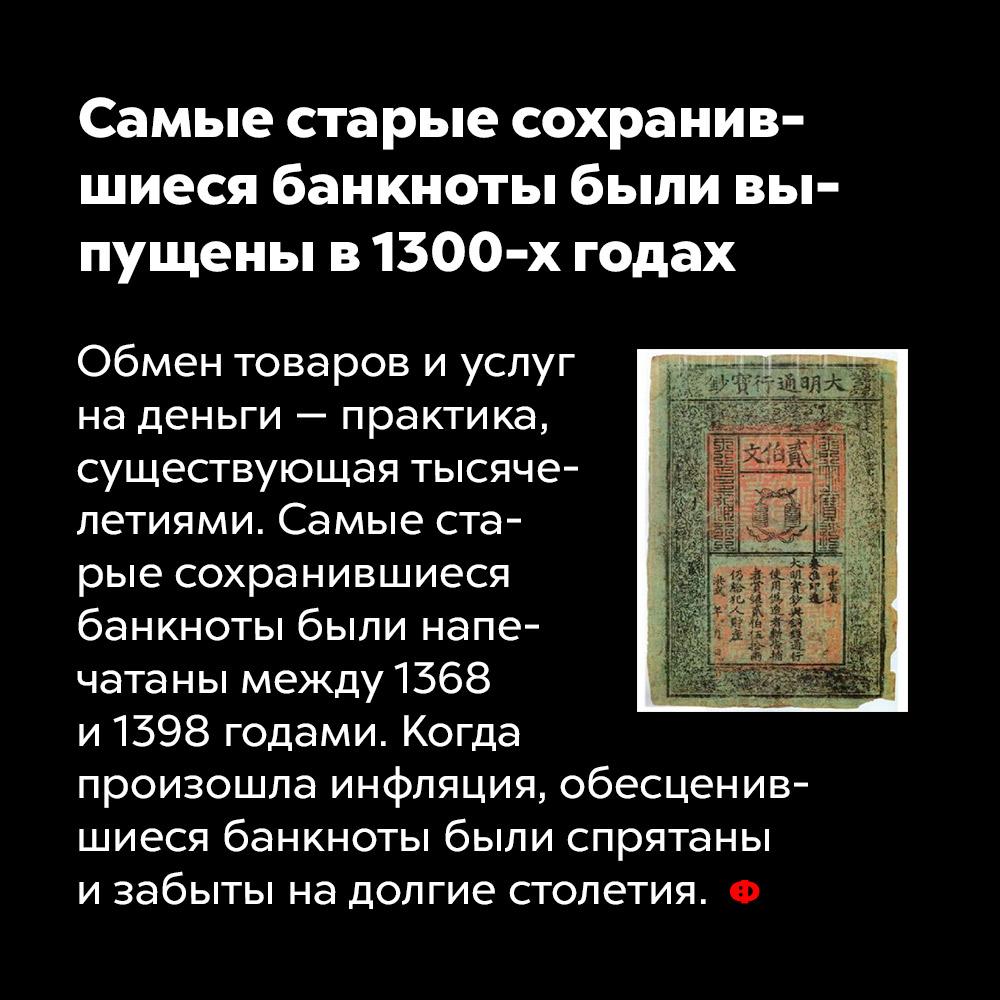 Самые старые сохранившиеся банкноты были выпущены в1300-х годах