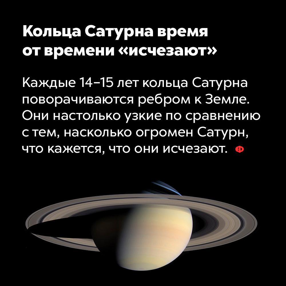 Кольца Сатурна время отвремени «исчезают». Каждые 14-15 лет кольца Сатурна поворачиваются ребром к Земле. Они настолько узкие по сравнению с тем, насколько огромен Сатурн, что кажется, что они исчезают.