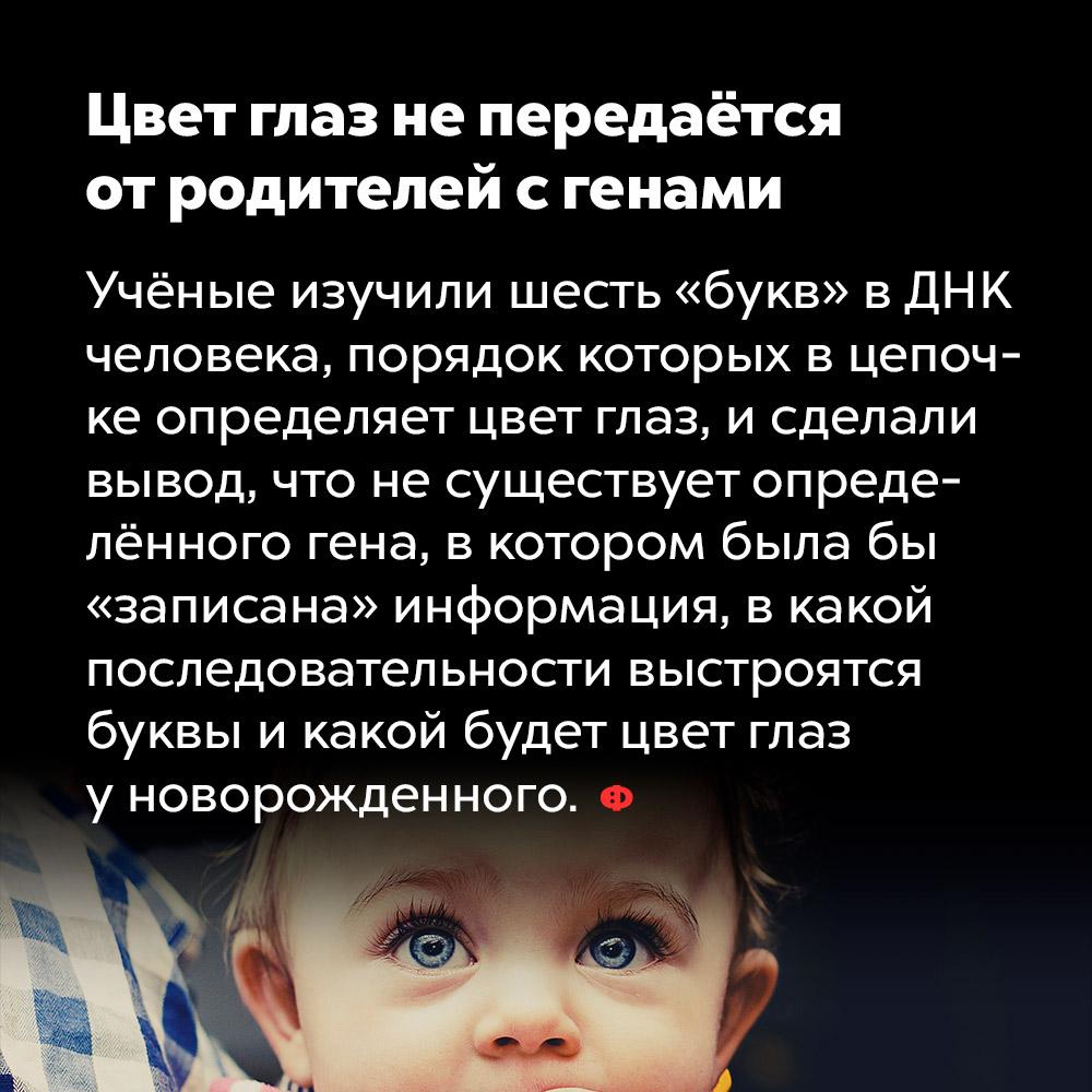 Цвет глаз непередаётся отродителей сгенами. Учёные изучили шесть «букв» в ДНК человека, порядок которых в цепочке определяет цвет глаз, и сделали вывод, что не существует определённого гена, в котором была бы «записана» информация, в какой последовательности выстроятся буквы и какой будет цвет глаз у новорождённого.