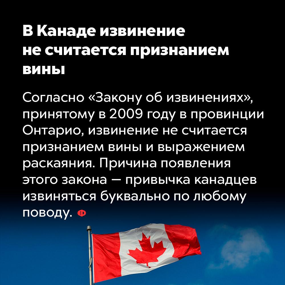 ВКанаде извинение несчитается признанием вины. Согласно «Закону об извинениях», принятому в 2009 году в провинции Онтарио, извинение не считается признанием вины и выражением раскаяния. Причина появления этого закона — привычка канадцев извиняться по любому поводу.