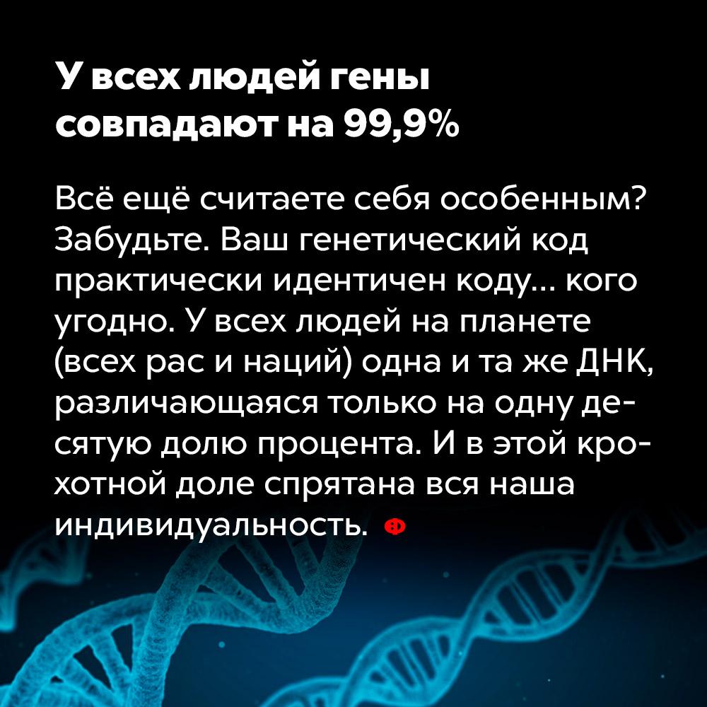 Увсех людей гены совпадают на99,9%. Всё ещё считаете себя особенным? Забудьте. Ваш генетический код практически идентичен коду… кого угодно. У всех людей на планете (всех рас и национальностей) одна и та же ДНК, различающаяся только на одну десятую процента. И в этой крохотной доле спрятана вся наша индивидуальность.