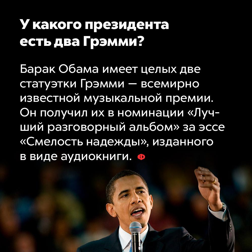 Укакого президента есть два Грэмми. Барак Обама имеет целых две статуэтки Грэмми — всемирно известной музыкальной премии. Он получил их в номинации «Лучший разговорный альбом» за эссе «Смелость надежды», изданное в виде аудиокниги.