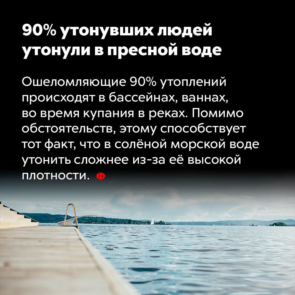90%утонувших людей утонули впресной воде. Ошеломляющие 90% утоплений происходят в бассейнах, ваннах, во время купания в реках. Помимо обстоятельств, этому способствует тот факт, что в солёной морской воде утонуть сложнее из-за её высокой плотности.