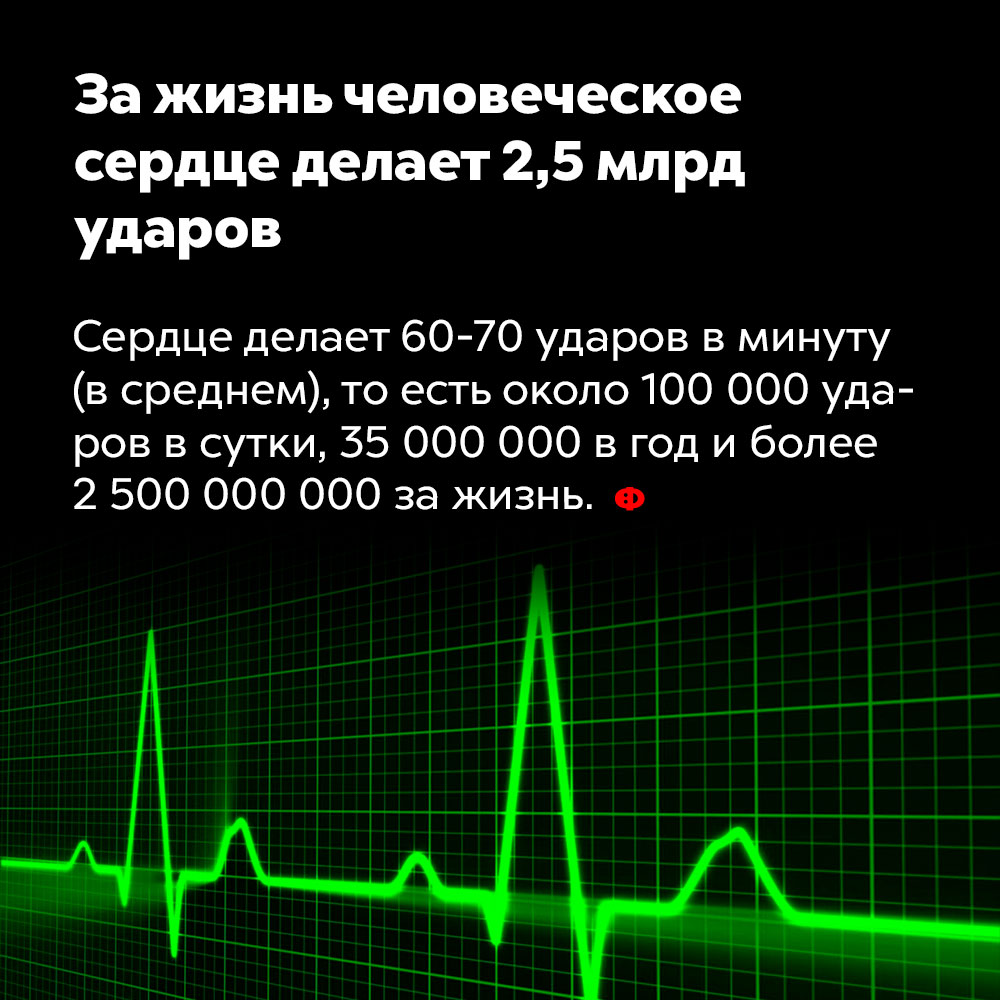 Зажизнь человеческое сердце делает 2,5млрд ударов.
