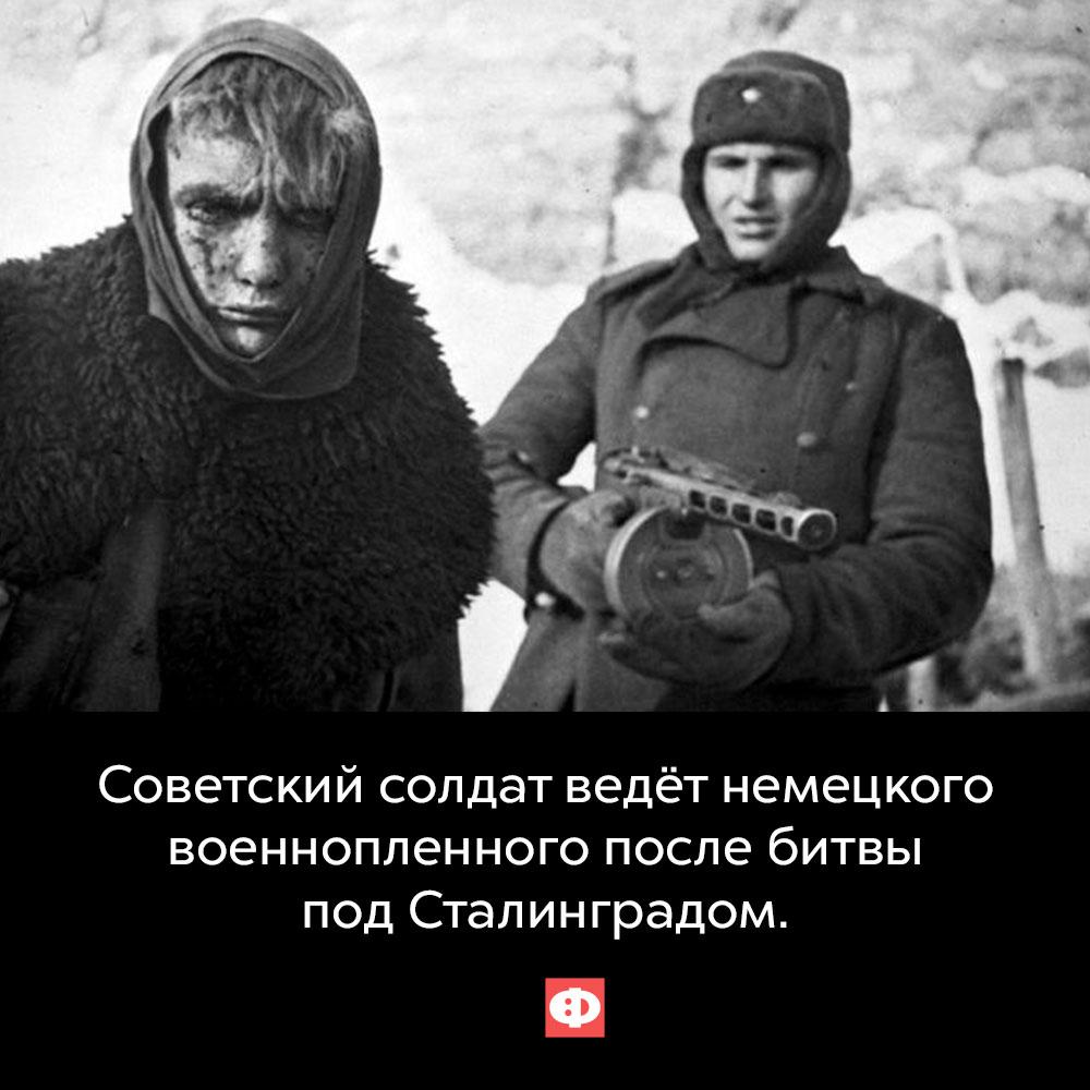 Советский солдат ведёт немецкого военнопленного после битвы под Сталинградом.