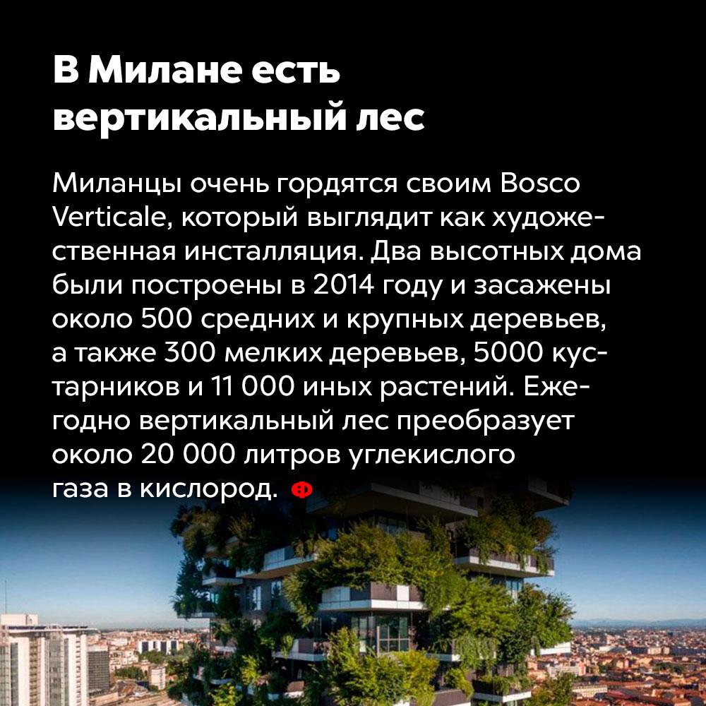 ВМилане есть вертикальный лес.