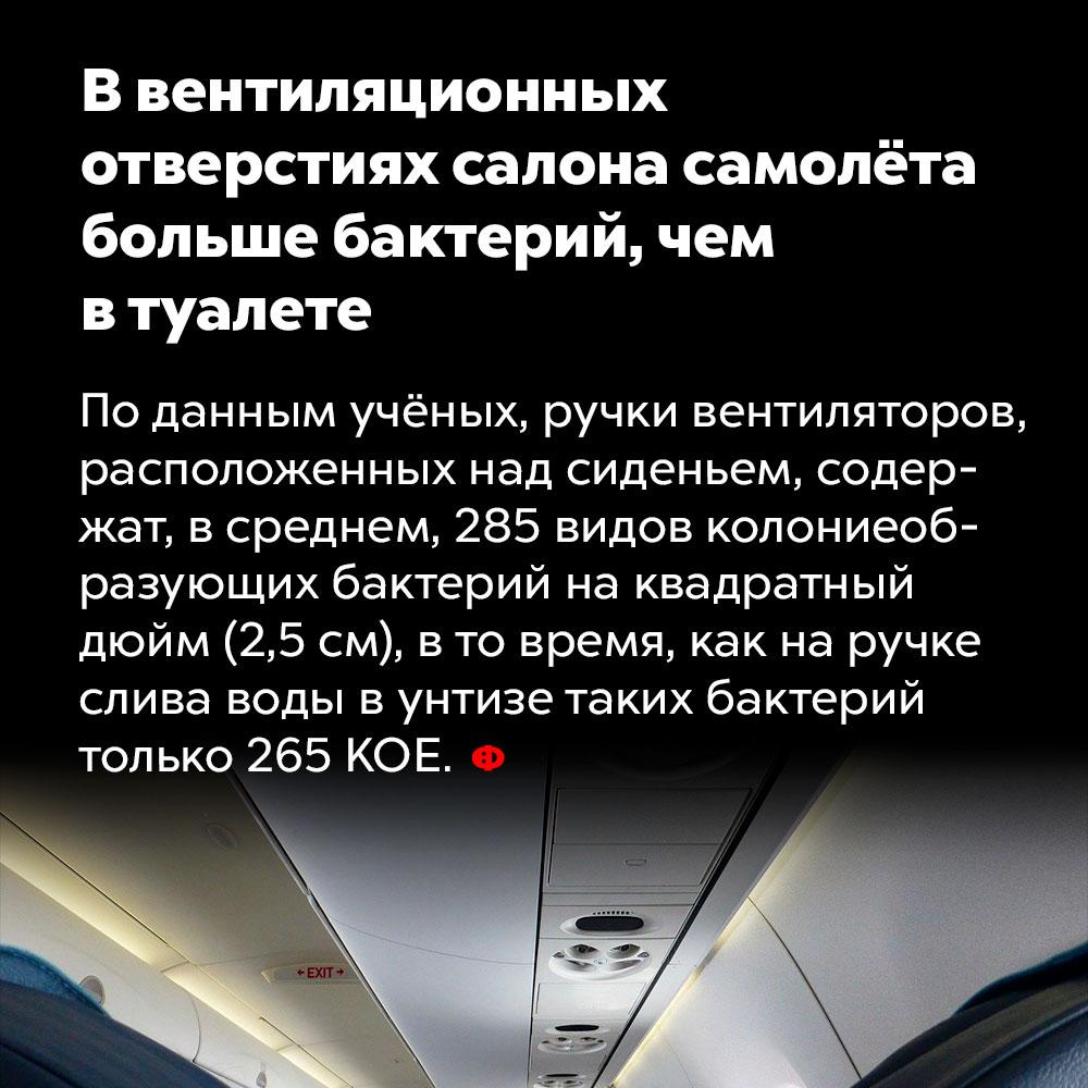 Ввентиляционных отверстиях салона самолёта больше бактерий, чем втуалете.