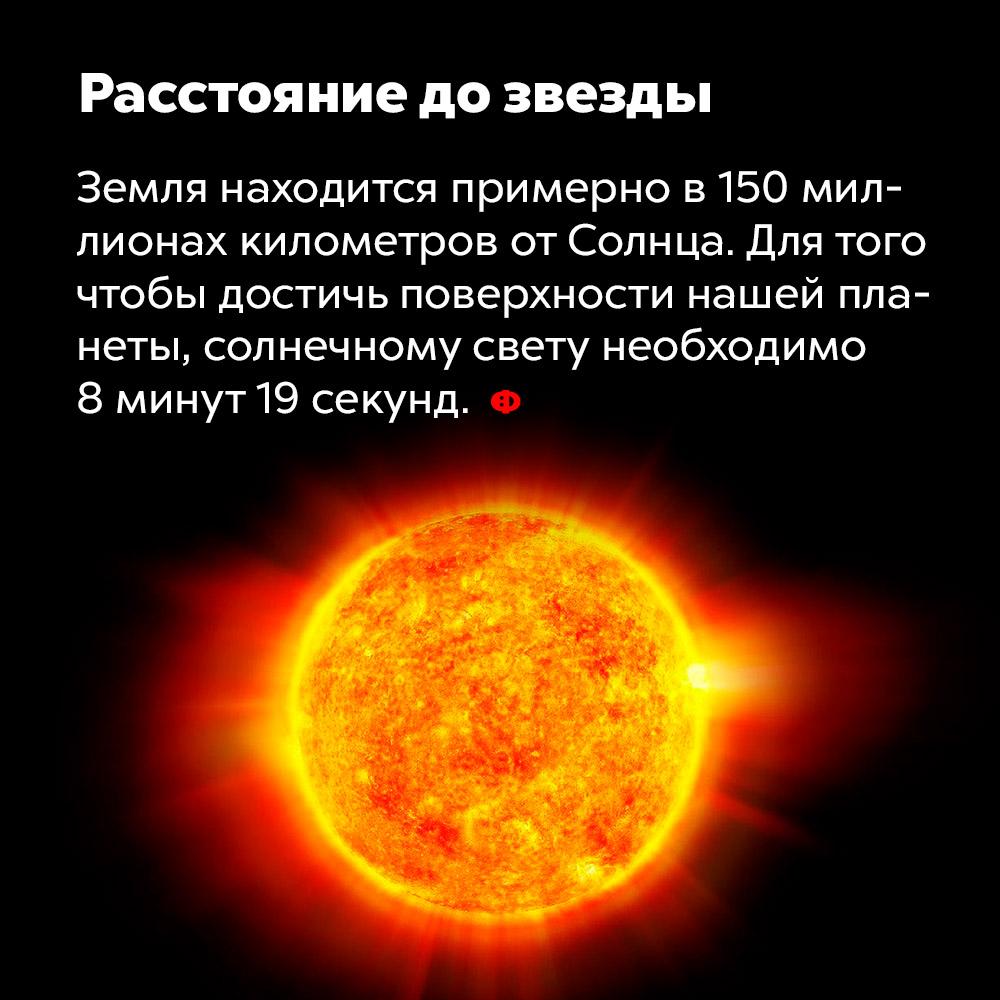 На каком расстоянии от Земли находится Солнце?. Земля расположена примерно в 150 миллионов километров от Солнца. Для того, чтобы достичь поверхности нашей планеты, солнечному свету необходимо 8 минут 19 секунд.
