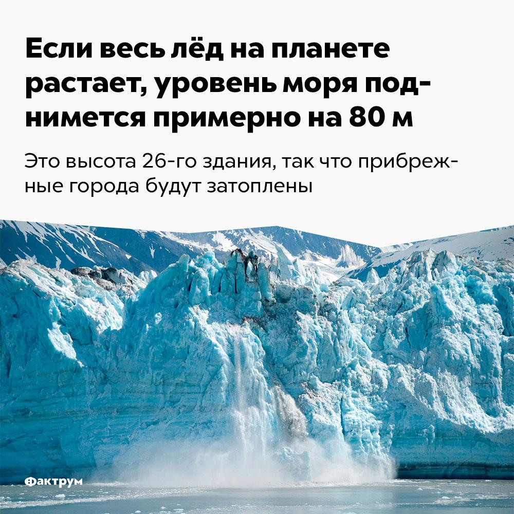 Если весь лёд напланете растает, уровень моря поднимется примерно на80м. Это высота 26-этажного здания, так что прибрежные города будут затоплены.